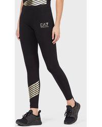 Emporio Armani Stretch leggings With Logo - Black