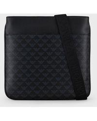 Emporio Armani Flache Umhängetasche aus Leder mit Monogramm - Schwarz