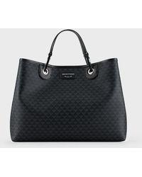 Emporio Armani Sac cabas MyEA Bag avec logo all over - Noir
