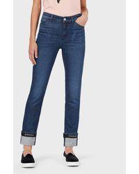 Emporio Armani Jeans J81 in Super Skinny Fit aus Denim mit Vintageeffekt und Logo-Band - Blau