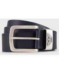 Emporio Armani Gürtel aus Leder mit Logo-Schnalle - Blau