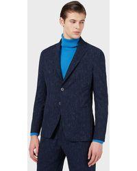 Emporio Armani Chaqueta de abotonadura sencilla en sirsaca técnica con estampado tweed - Azul