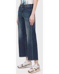 Emporio Armani Jeans J33 wide fit cropped in comfort denim vintage - Blu