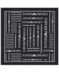 Emporio Armani Tuch mit durchgehendem Logo - Schwarz
