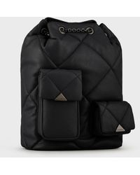 Emporio Armani Quilted, Faux Nappa-leather, Drawstring Backpack - Black