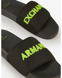 Armani Exchange Slides With Mesh Band - Green