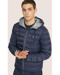 Armani Exchange Classic Circle Logo Down-fill Hooded Puffer - Blue