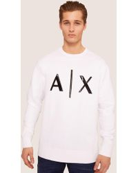 Armani Exchange - High-shine Embossed Logo Sweatshirt - Lyst