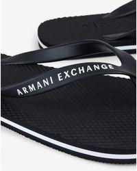 Armani Exchange Chanclas negras con logo - Negro