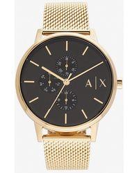 Armani Exchange Faceted Gold-toned Bracelet Watch - Metallic
