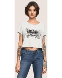 Armani Exchange - Line Art Floral Cropped Tee - Lyst