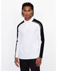Armani Exchange Long Sleeve Polo With Logo Tape - White