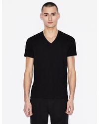 Armani Exchange T-shirt slim fit scollo a V - Nero