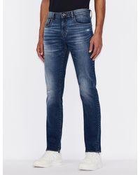 Armani Exchange J13 Five-pocket, Slim-fit Jeans - Blue