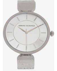 Armani Exchange - Round Minimalist Silver-toned Bracelet Watch - Lyst