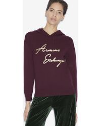 Armani Exchange - Metallic Script Sweater Hoodie - Lyst