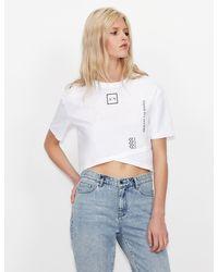 Armani Exchange T-shirt crossed top - Bianco