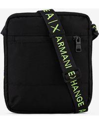 Armani Exchange Canvas Shoulder Bag - Black