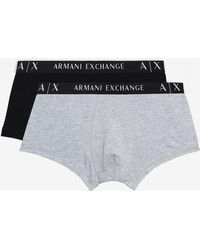 Armani Exchange Boxer Trunk Underpants With Contrast Elastic And Written Logo - Black