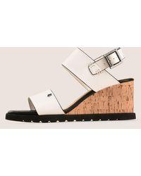 Armani Exchange Colorblock Cork Wedge Sandal - White