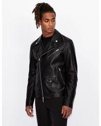 Armani Exchange Leather Biker Jacket - Black