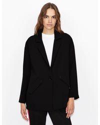 Armani Exchange Blazer With Contrasting Lining - Black