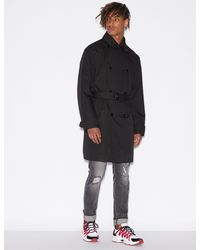 Armani Exchange Double-breasted Trench Coat - Black