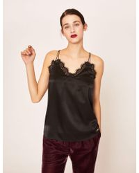 Armani Exchange - Racerback Lace-trimmed Silk Cami - Lyst