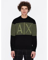 Armani Exchange Jacquard Cotton Sweater - Black
