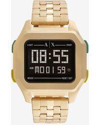 Armani Exchange Digital Gold Tone Stainless Steel Watch - Metallic