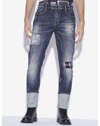 Armani Exchange - J75 Slim-fit Plaid Rip & Repair Indigo Jean - Lyst