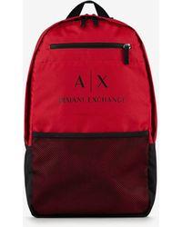 Armani Exchange Mochila con logotipo colgante efecto placa - Rojo