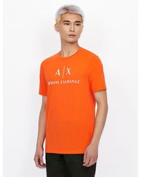 Armani Exchange T-shirt With Contrast Lettering And Logo - Orange
