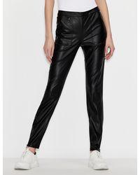 Armani Exchange Leather-effect leggings - Black