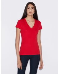 Armani Exchange Slim-fit Short Sleeve Pima Cotton Tee - Red