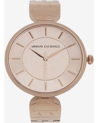 Armani Exchange - Round Minimalist Rose Gold-toned Bracelet Watch - Lyst