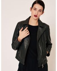 Armani Exchange - Pebbled Leather Moto Jacket - Lyst
