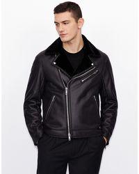 Armani Exchange Biker Jacket With Plush Collar - Black