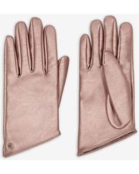 Armani Exchange Metallic, Faux Leather Gloves - Pink