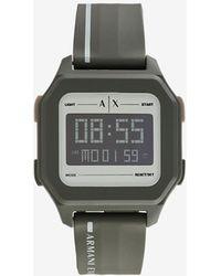 Armani Exchange Reloj digital de silicona verde