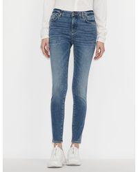 Armani Exchange J69 Five-pocket, Super-skinny, Push-up Denim Jeans - Blue