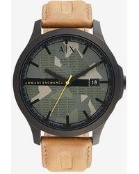 Armani Exchange Reloj de cuero marrón de tres manecillas - Negro