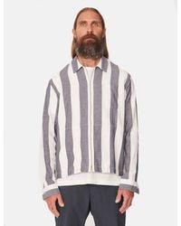 YMC Bowie Zip Shirt (striped) - Blue