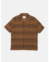 Folk Folk Soft Collar Shirt (overdyed Crepe Check) - Brown