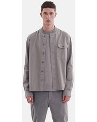 YMC Delinquents Rib Collar Shirt (herringbone) - Gray