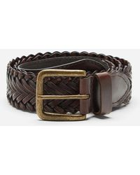Dents Plaited Leather Belt - Brown