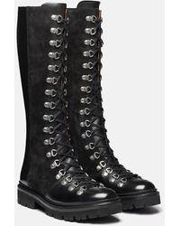 Grenson Nanette Hi Boot (suede/leather) - Black