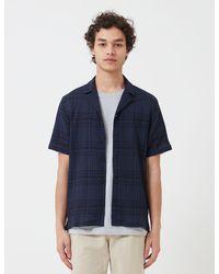 Folk Folk Soft Collar Shirt (overdyed Crepe Check) - Blue