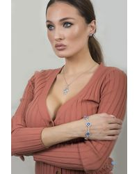 Artisan Carat Sterling Silver Set Hamsa Hand Evil Eye Cz Pendant With Necklace Matching Stud Earrings And Tennis Bracelet - Metallic
