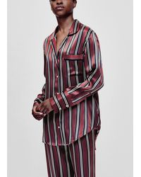 Asceno Paris Burgundy Stripe Silk Oversized Pyjama Shirt - Multicolour
